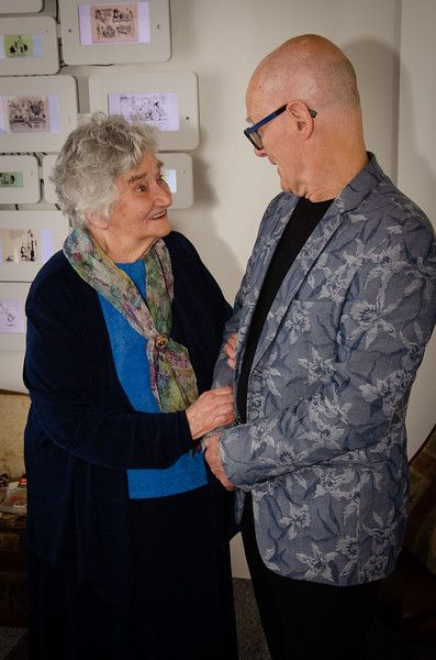 Irene Dixon meets Peter Higginson in the Heath Robinson Gallery. Photo: Andy Taylor