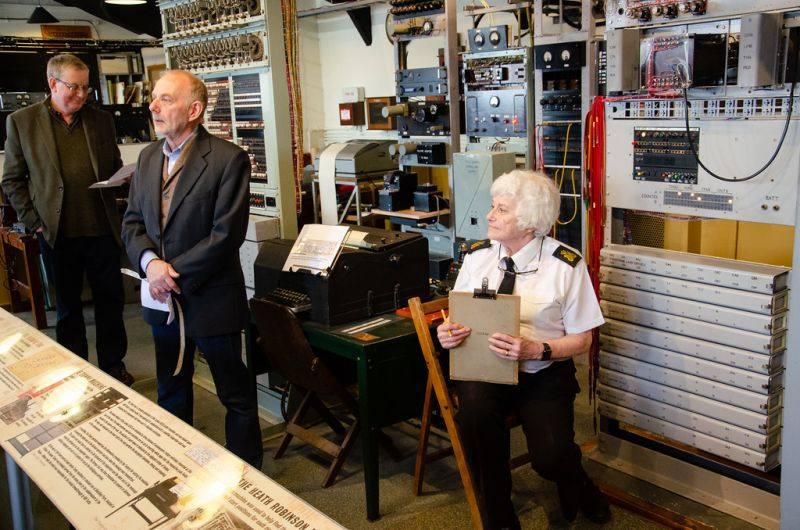 Andrew Herbert, Phil Hayes and Helen Jarvis and the reconstructed Heath Robinson. Photo: Andy Taylor
