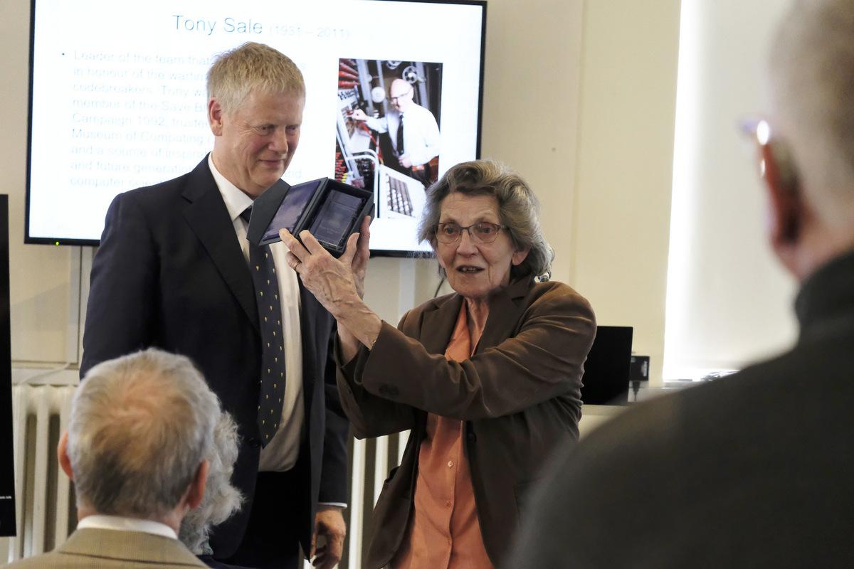 Trustee Andy Clark with Margaret Sale