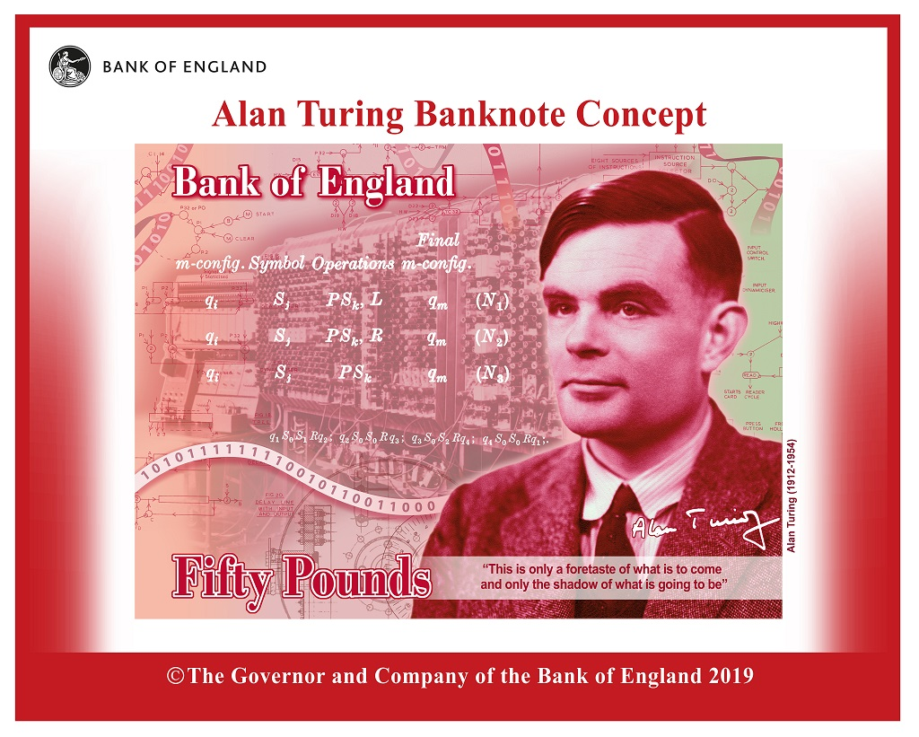 Alan Turing Banknote Concept - Courtesy Bank of England