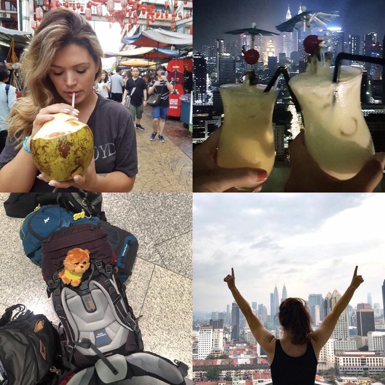 Backpacks, kokosnootje, uitzicht vanaf balkon, rooftop bar drankje!