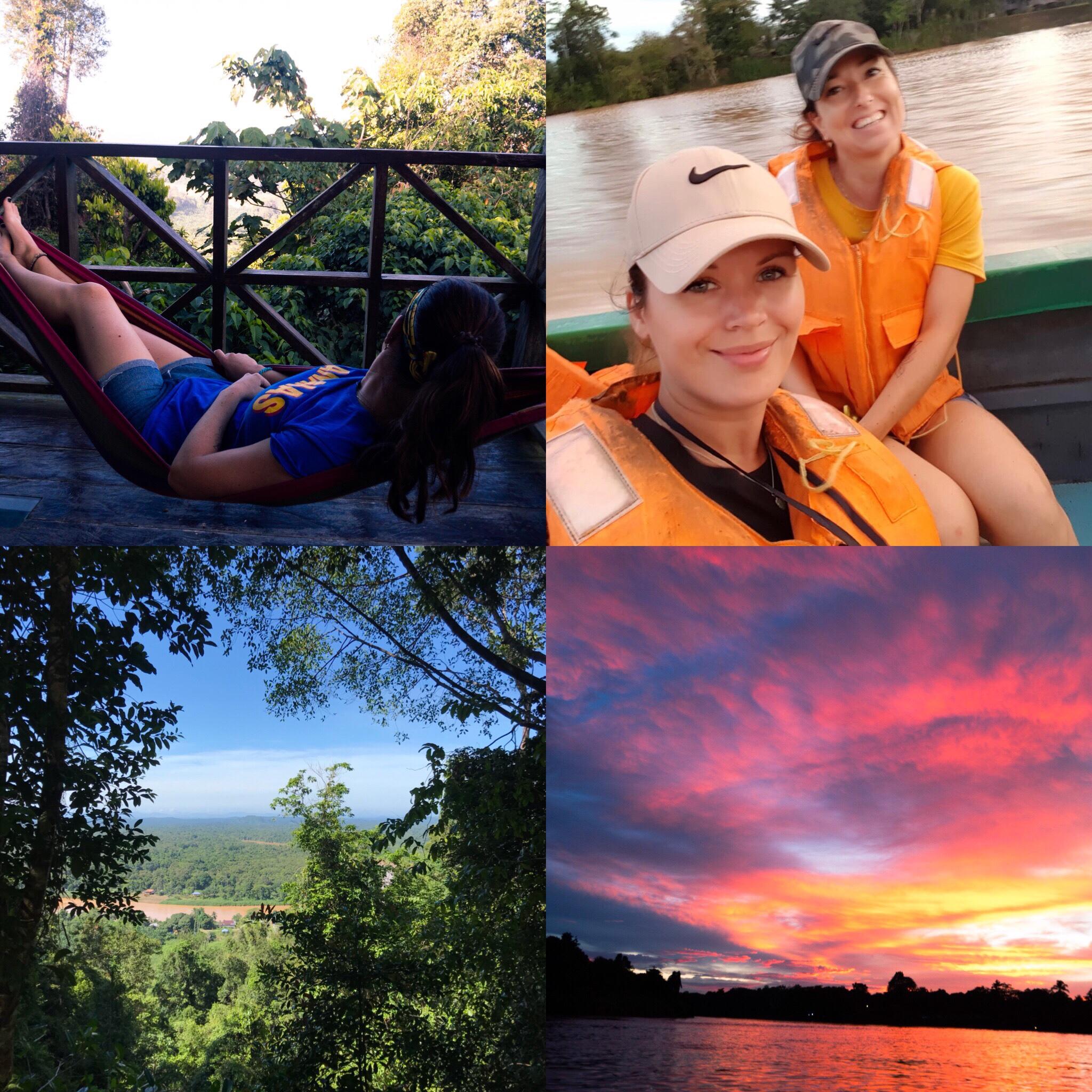 Hangmat, uitzicht vanaf de hangmat, ordinaire junglecruise selfie en zonsondergang 😍[[[[[[