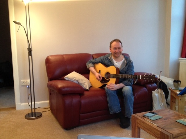 28th May 2015    TRIG BAG iPHONE RECORDINGS   Shetland guitarist and fellow 'Trig Bag' duo memberRobbie Leask in rehearsal and iPhone recording mode!