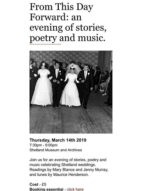 Shetlanders! Dis! Da moarn's night! Shetland Museum. Looks graet! . . . . #shetlandwedding #shetlandhistory #traditionalmusic #poetry #maryblance @shetlandmuseum @henderson_mg