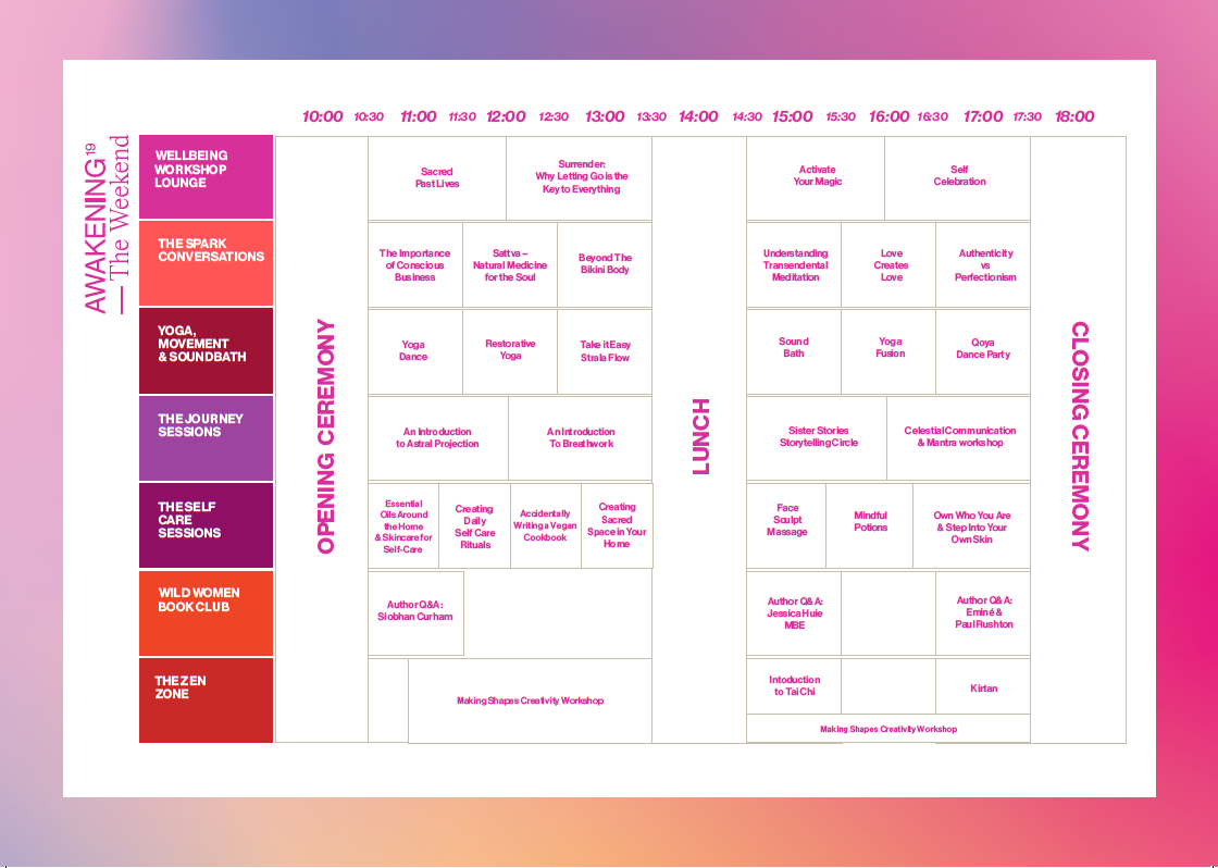 THE Awakening Weekend timetable  8&9 June 2019 Isle of Wight