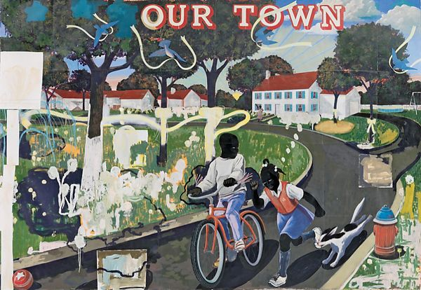 """""""Our Town"""" , Acrylic on Canvas, Kerry James Marshall, 1995, Museum of American Art, Bentonville, Arkansas"""