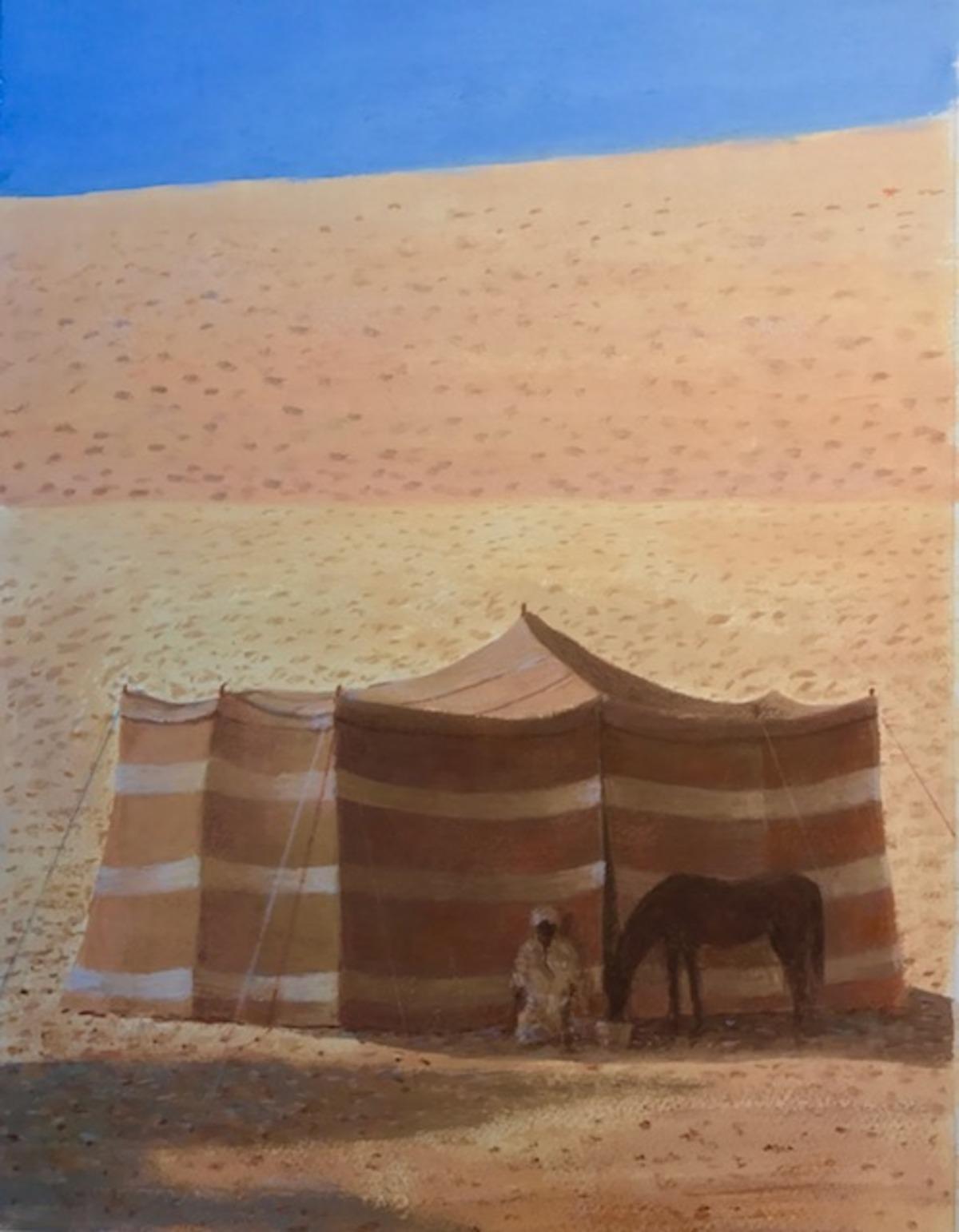 Desert tent, man and horse