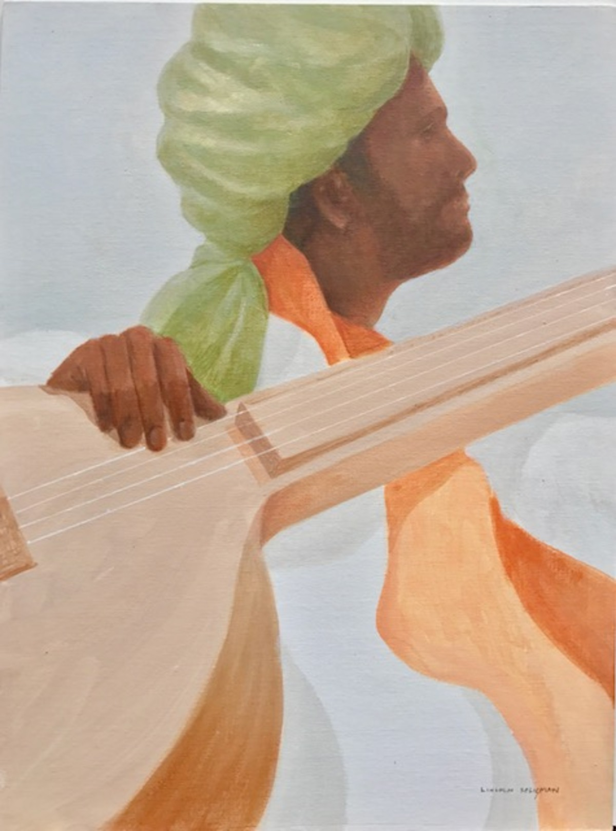 Sitar player, olive turban