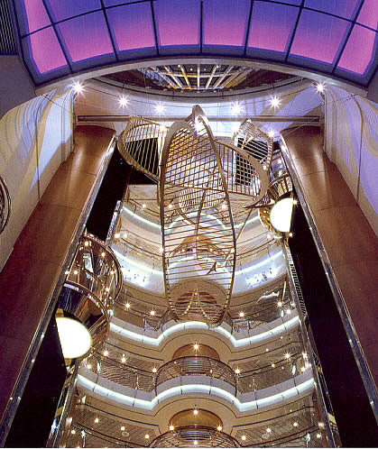 Suspended sculpture in the atrium of MS Voyager of the Seas""