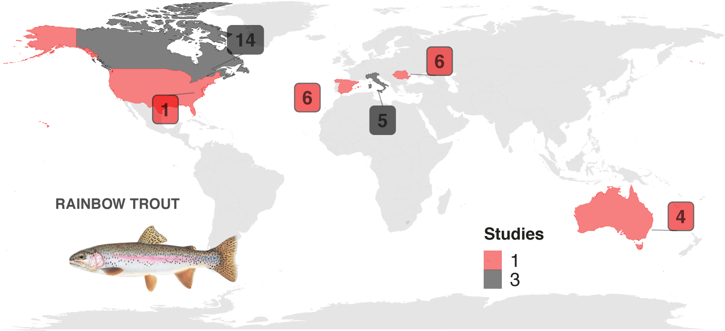 Map showing the total number of  SAMPLES  tested   by country, with the colors indicating the total number of  STUDIES  conducted in each country.