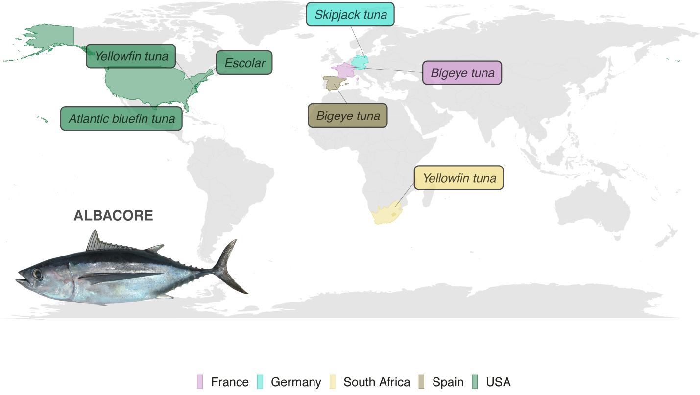 Map showing  SUBSTITUTES  color-coded by country. An * indicates a seafood product that encompasses more than one species.