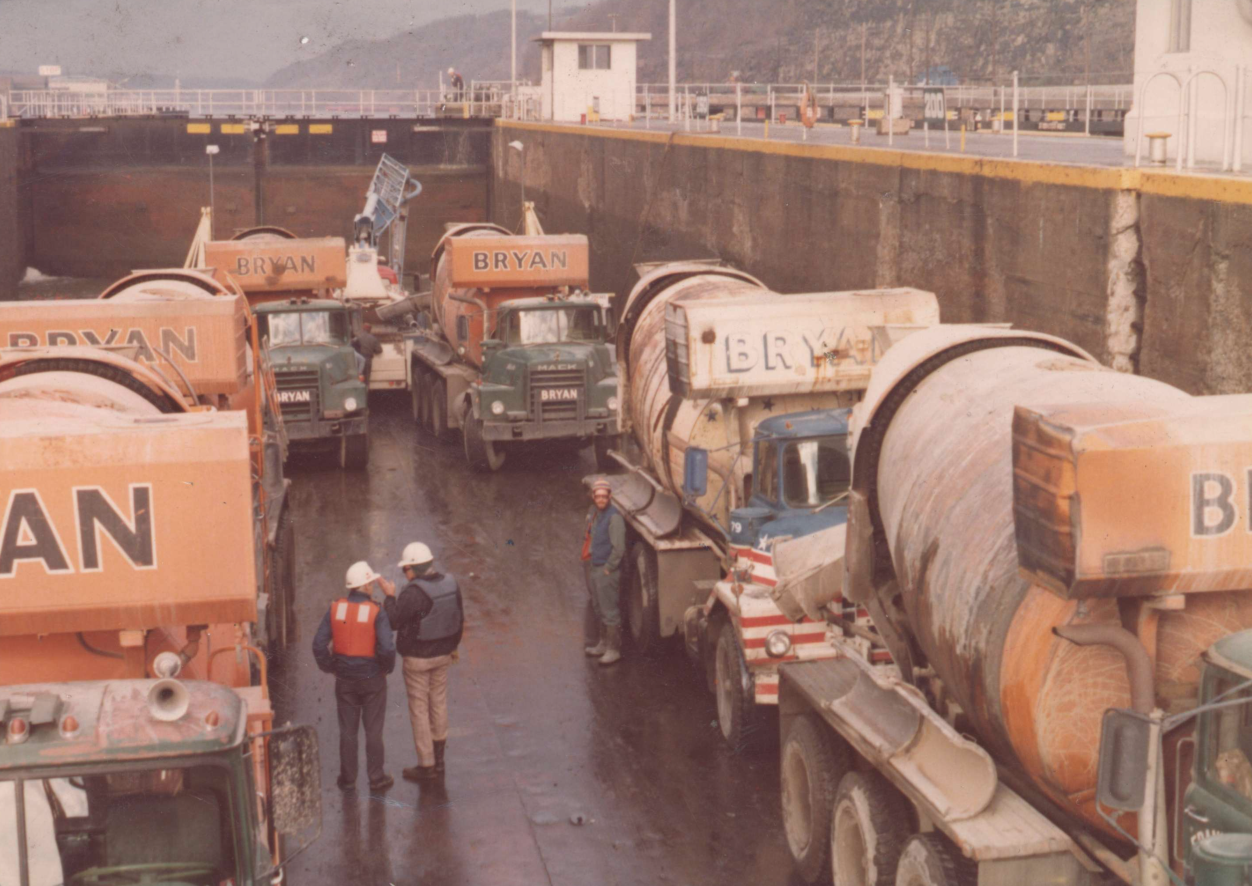Concrete mixers on ferry boat - early 1980s