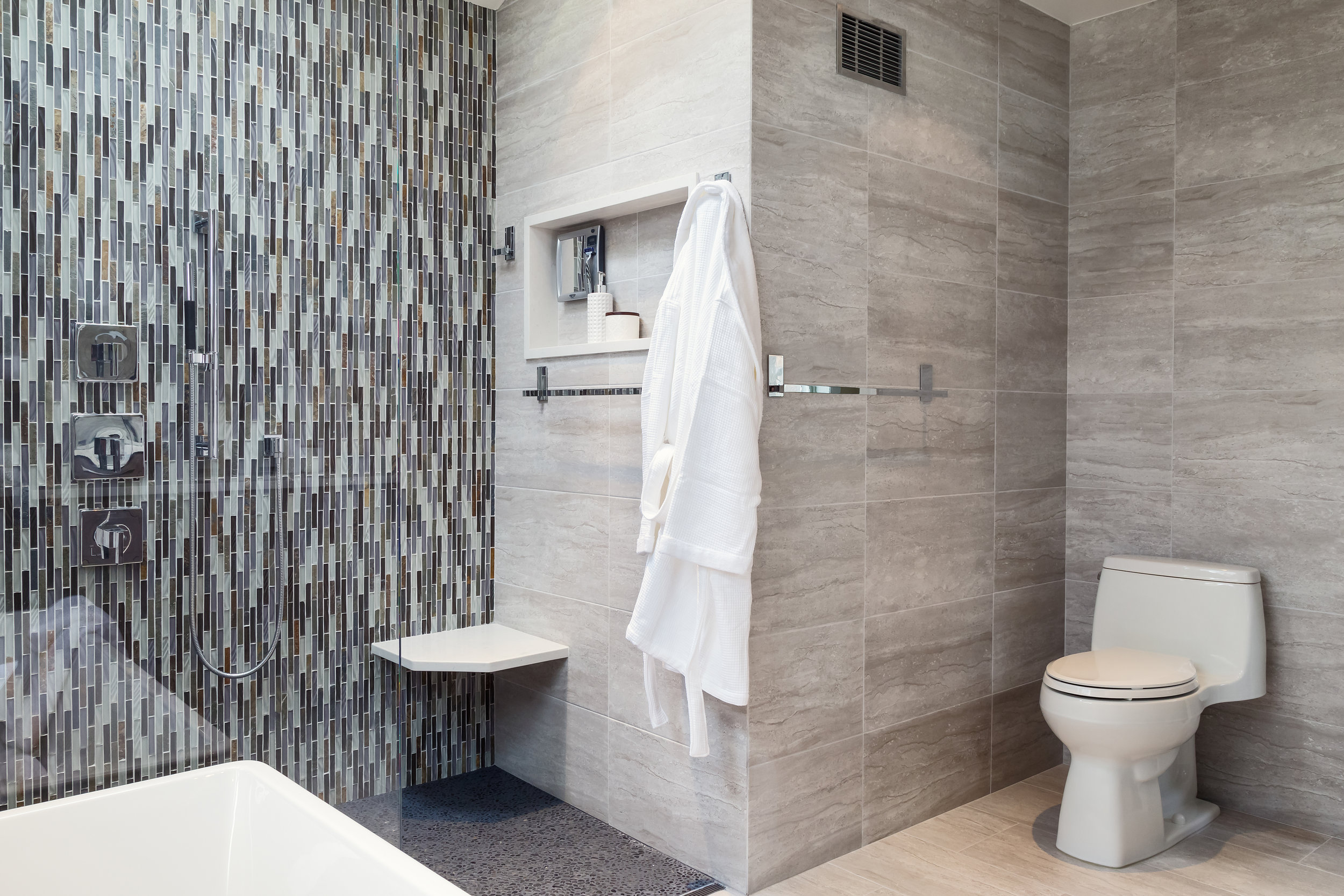 Modern bathroom with tiled shower