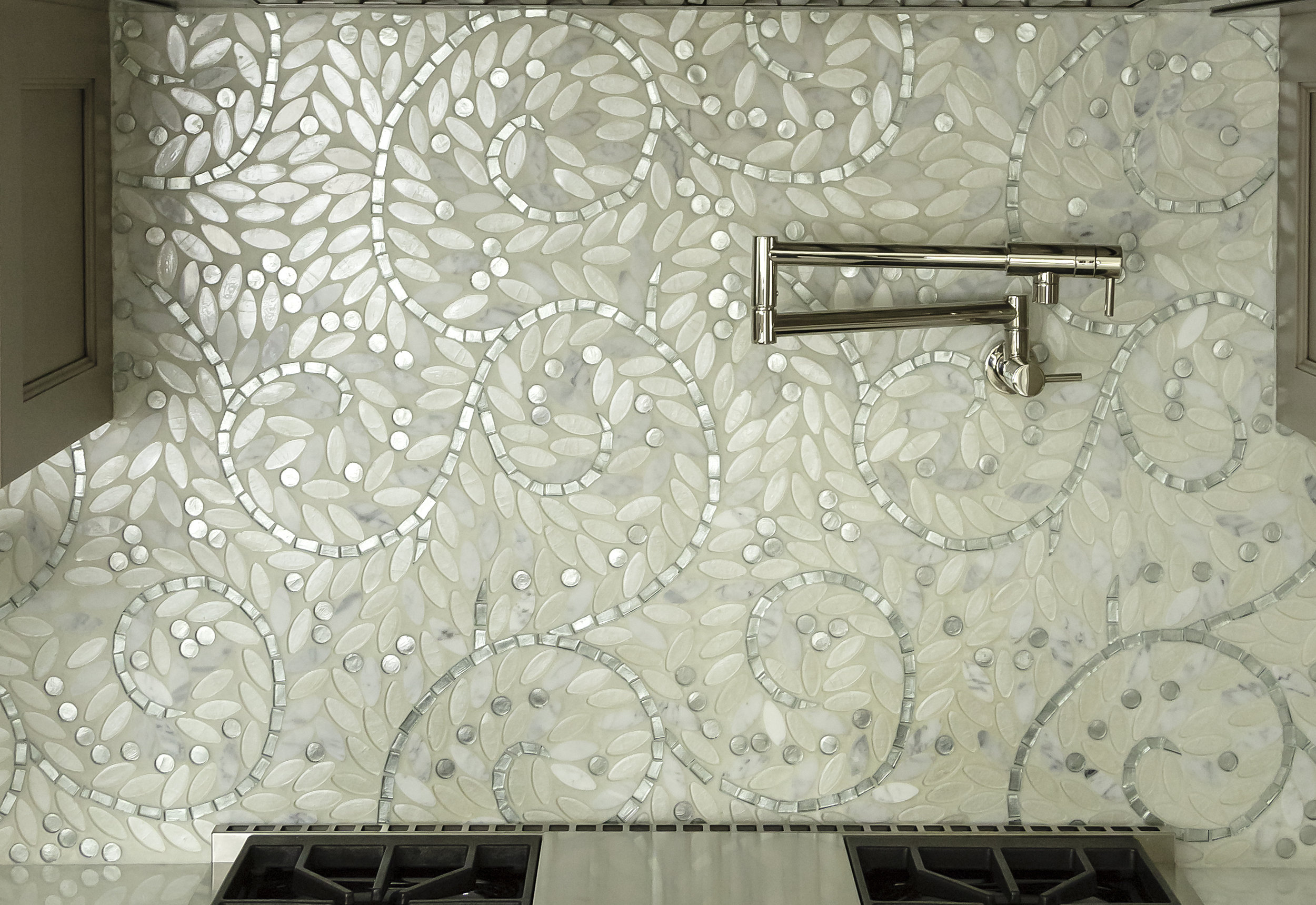 MOSAICS - Custom-made pieces or predesigned patterns. Can be a focal point or decorative trim