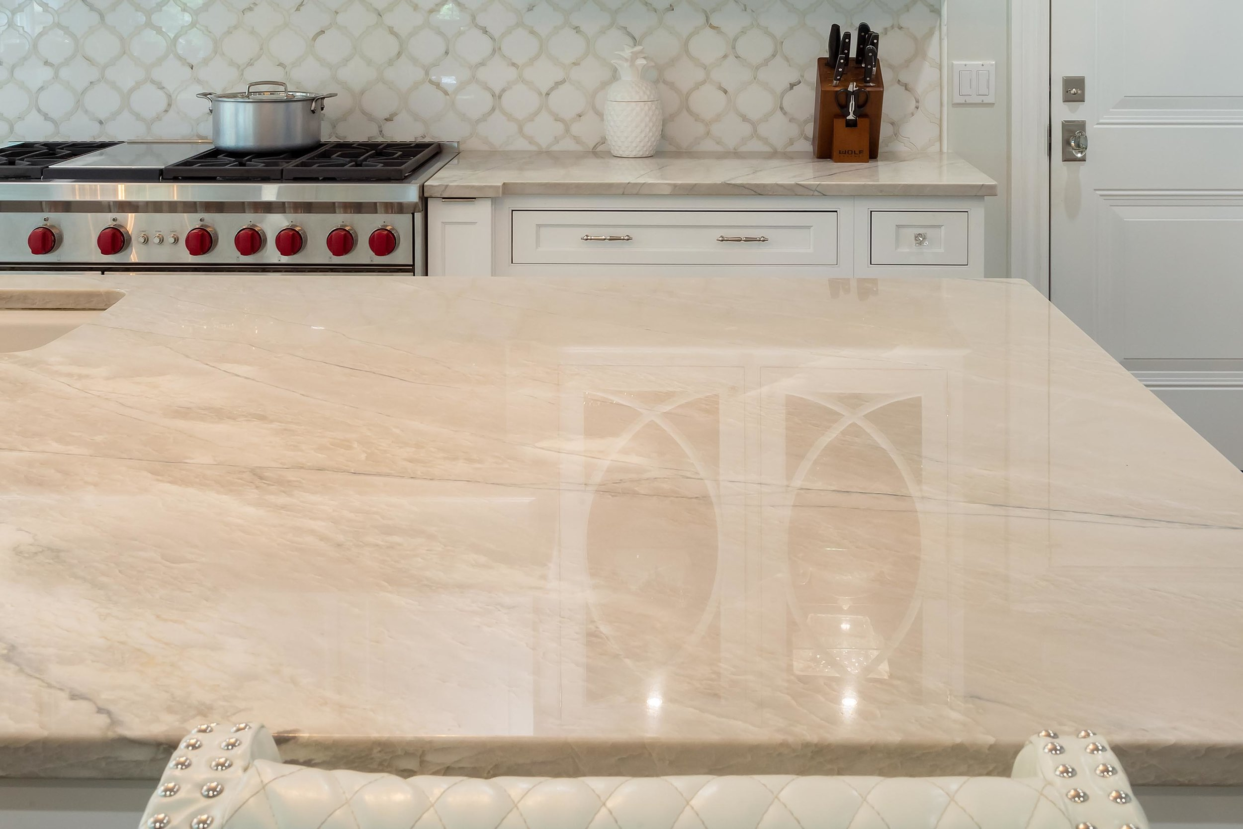 COUNTERTOPS - We offer samples of quartz, quartzite, marble and cement for countertops & backsplashes. We may suggest details in single & double edge profiles and can educate you on the differences.