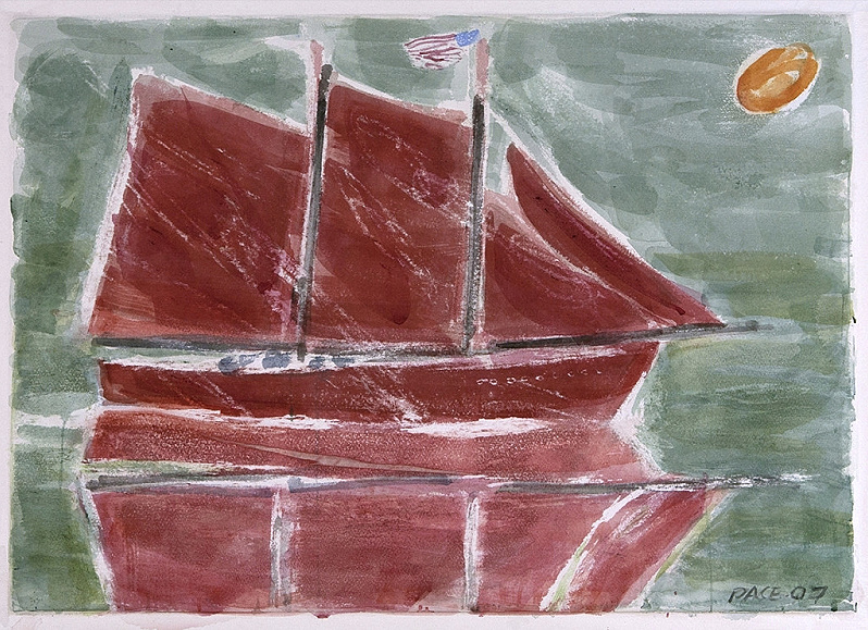 Red windjammer, green sea, 2007 - Watercolor on paper