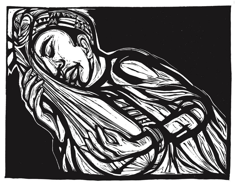 Were You There?  linocut by Ashley Bryan, Courtesy The Ashley Bryan Center