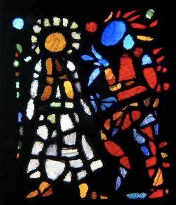 The Temptation , seaglass window by Ashley Bryan
