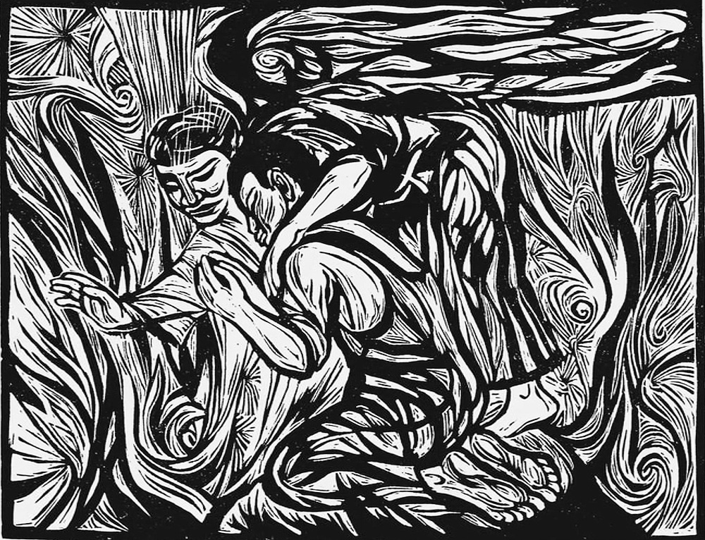 My Lord What a Morning , linocut by Ashley Bryan