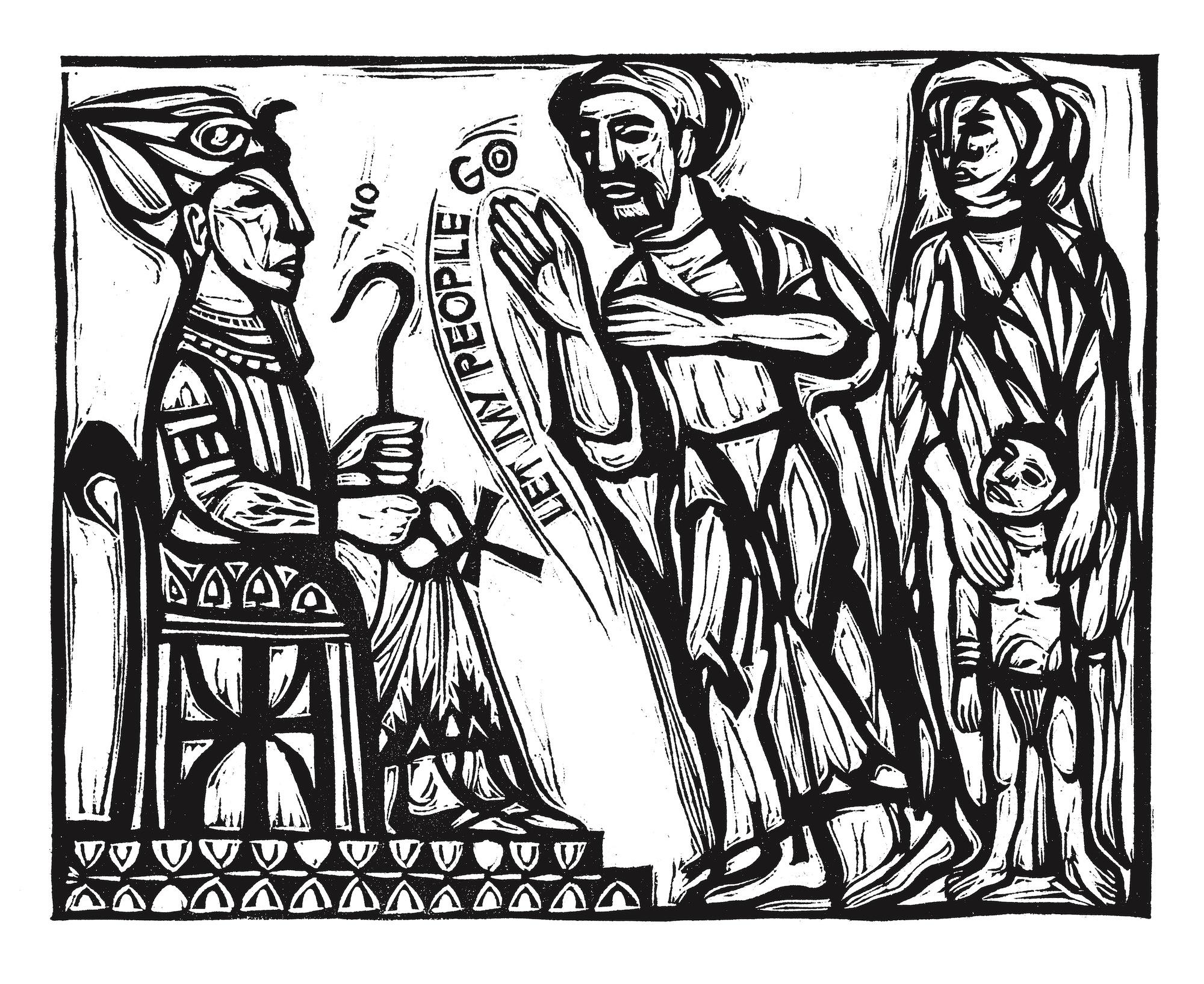 Go Down Moses,  linocut by Ashley Bryan