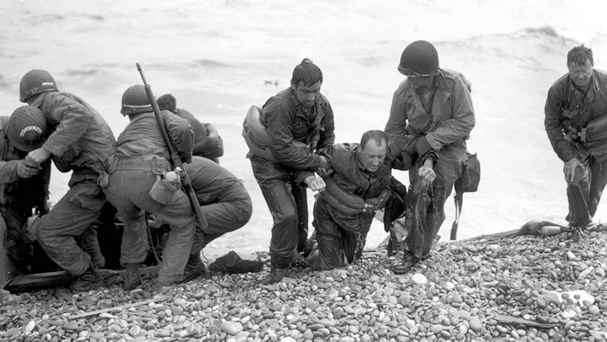 Soldiers Wash Ashore at D-Day , National Archives