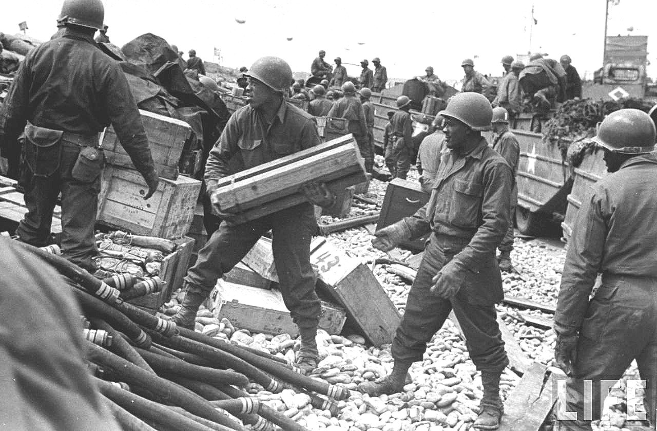 Black Soldiers Unloading Gear , Library of Congress, Prints & Photos Divison