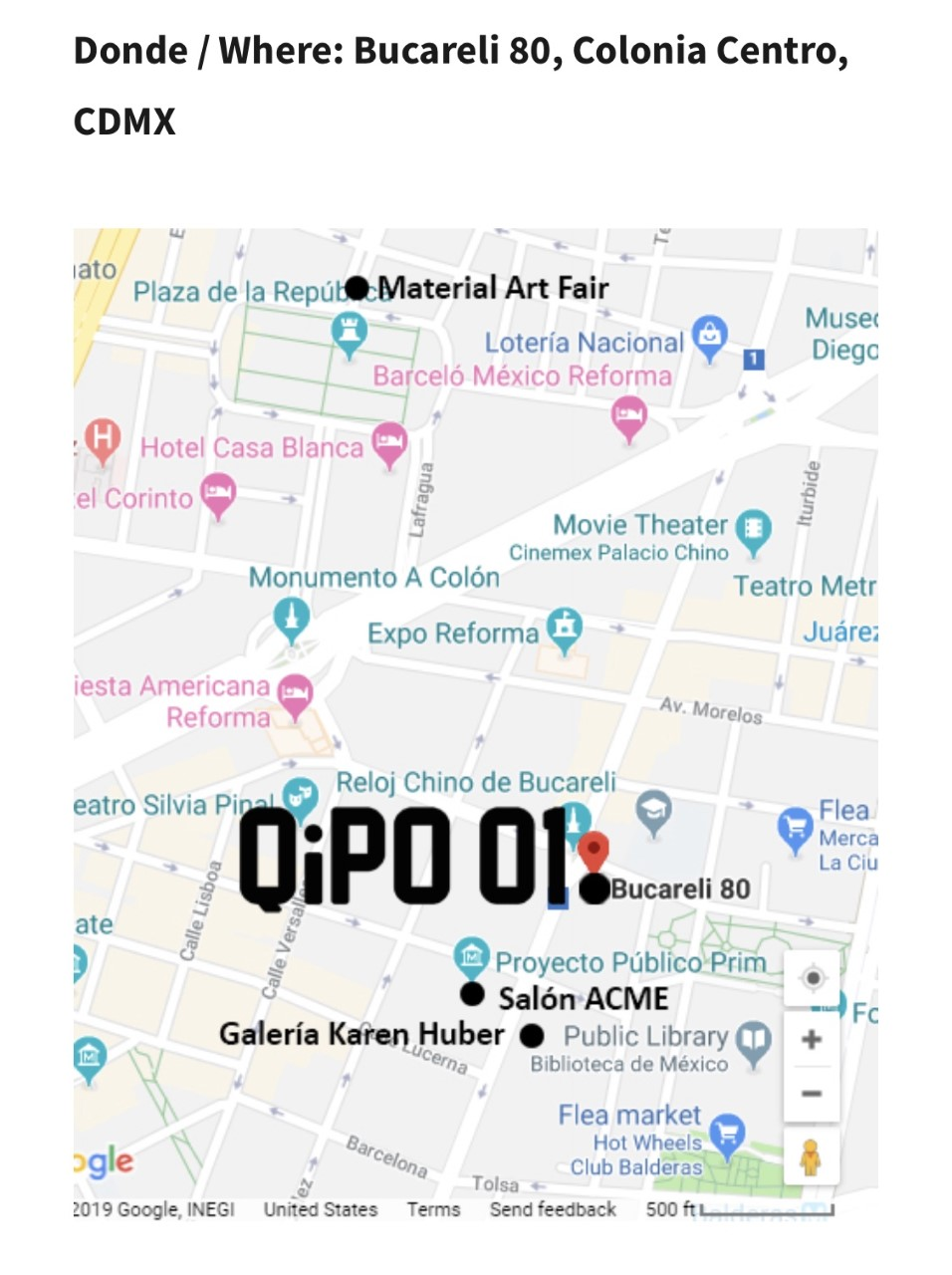 Super excited to announce that to kick off February 2019 we will be showing the incredible work of 7 amazing artists at the first QiPO project iteration in Mexico city. If you are in Mexico for art week stop by Barely 88, Colonia Centro, CDMX Feb 7,8,9 and see works by Carolyn Castaño, Ron Athey, Zeina Baltagi, Thinh Nguyen, Star Montana, Robin Kang, and John Geary. Ck out what people are saying about our project in the links below:   https://www.dondeir.com/cultura/semana-del-arte-2019-zona-maco-material-art-fair-y-salon-acme/2019/01/   Glits : Art Fair Week Guide (among 4 recommended events)   http://www.glits.mx/guia-glits-para-la-semana-del-arte-2019-en-cdmx/    Clasico DMX:   http://www.clasicodmx.mx/primera-edicion-de-qipo-01-ciudad-de-mexico/    Interview with Laura:   http://snn.imer.gob.mx/laferia/2019/01/29/abrir-espacios-y-abrirse-a-otros-publicos-qipo-01/   Event Listing:   https://www.evensi.com/qipo-01-mexico-city-bucareli-80-centro-06010-cuauhtemoc-cdmx-exico/286296684   https://thehappening.com/happening/qipo-01/2019-02-07/   http://gastv.mx/qipo-01-primera-edicion-de-intervencion-de-espacios/