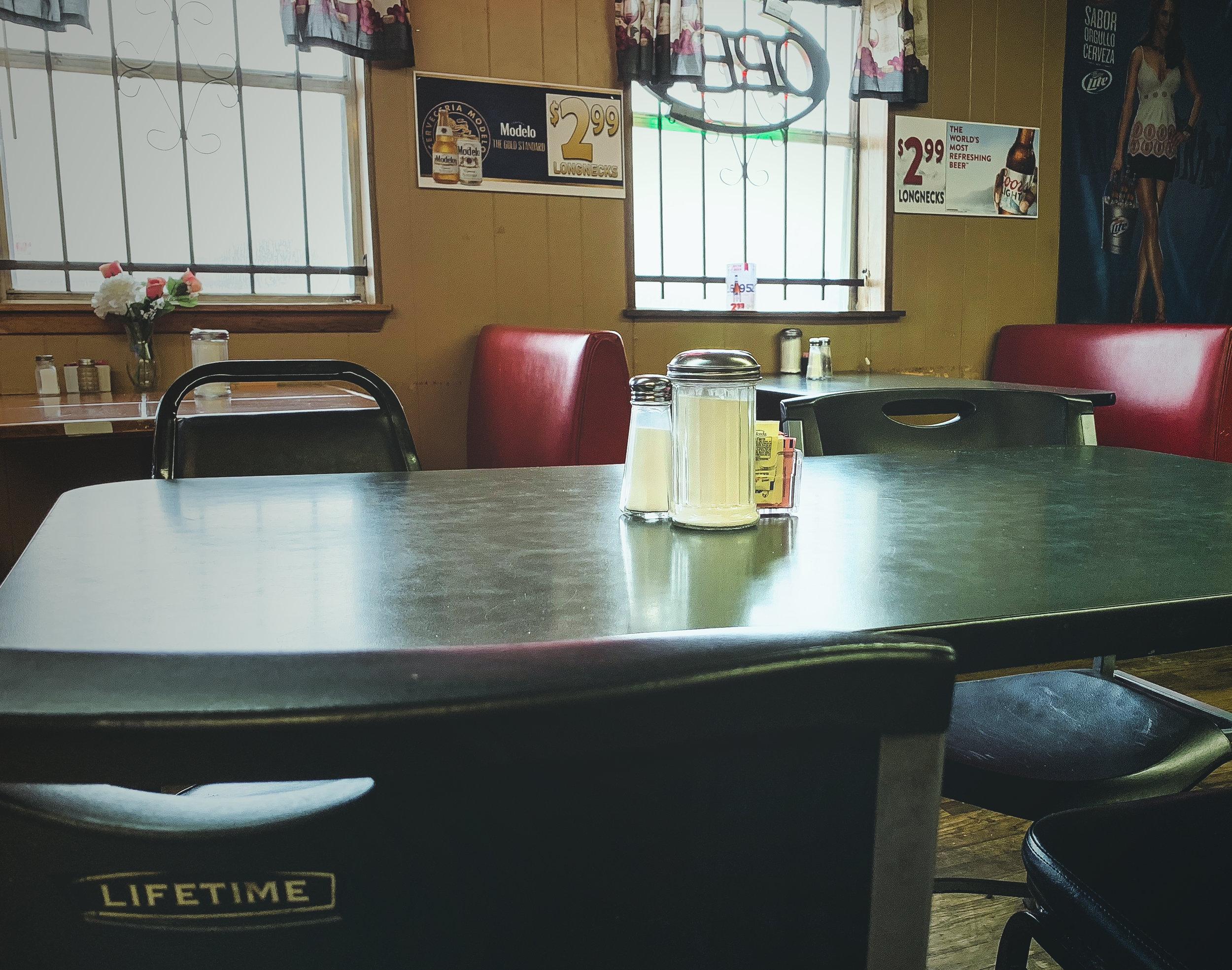An empty table at El Borreho De Oro.