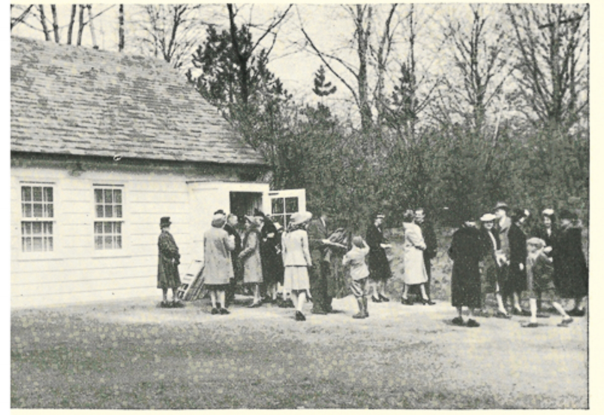 Palm Sunday (April 18, 1943) - Parishioners leaving our first worship service (The Chapel on Fisher Road)