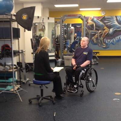 """NBC News  You never know when God will give you an opportunity to say something that will encourage others. Or better yet, to say something that points people to Him.  Yesterday Dave had one of those opportunities. When we went to Dave's physical therapy session at Project Walk in Claremont, the local NBC news station was there doing a story on what Project Walk does to help people with spinal cord damage. We were a little surprised when they asked Dave to be interviewed. He said some great things about how Project Walk is helping him and about the huge difference that having God in his life has made in this battle with leukemia.  Who knows what the editors will include in the piece. If you'd like to see it, they said it is scheduled to air during the 11 o'clock news on Sunday night.  """"But in your hearts revere Christ as Lord. Always be prepared to give an answer to everyone who asks you to give the reason for the hope that you have. But do this with gentleness and respect."""" 1 Peter 3:15  Those opportunities are around us every day. Our responsibility is to see them and step through the open doors.  Dave's most recent chemo treatment was three weeks ago. He is slowly gaining back some strength. Tomorrow's doctor's appointment will tell us whether or not he can be finished with the treatments. We are trusting God and praying that He continues to keep the leukemia away.  Thank you all for your prayers!! We still need them!!  Carol"""
