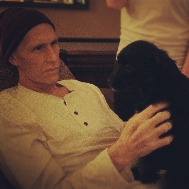 andrewstoecklein :     Dad and Juno reunite at home! Pray for peace and rest while he is home for a few days. He is very weak and tired. Gods got this! (Taken with  instagram )