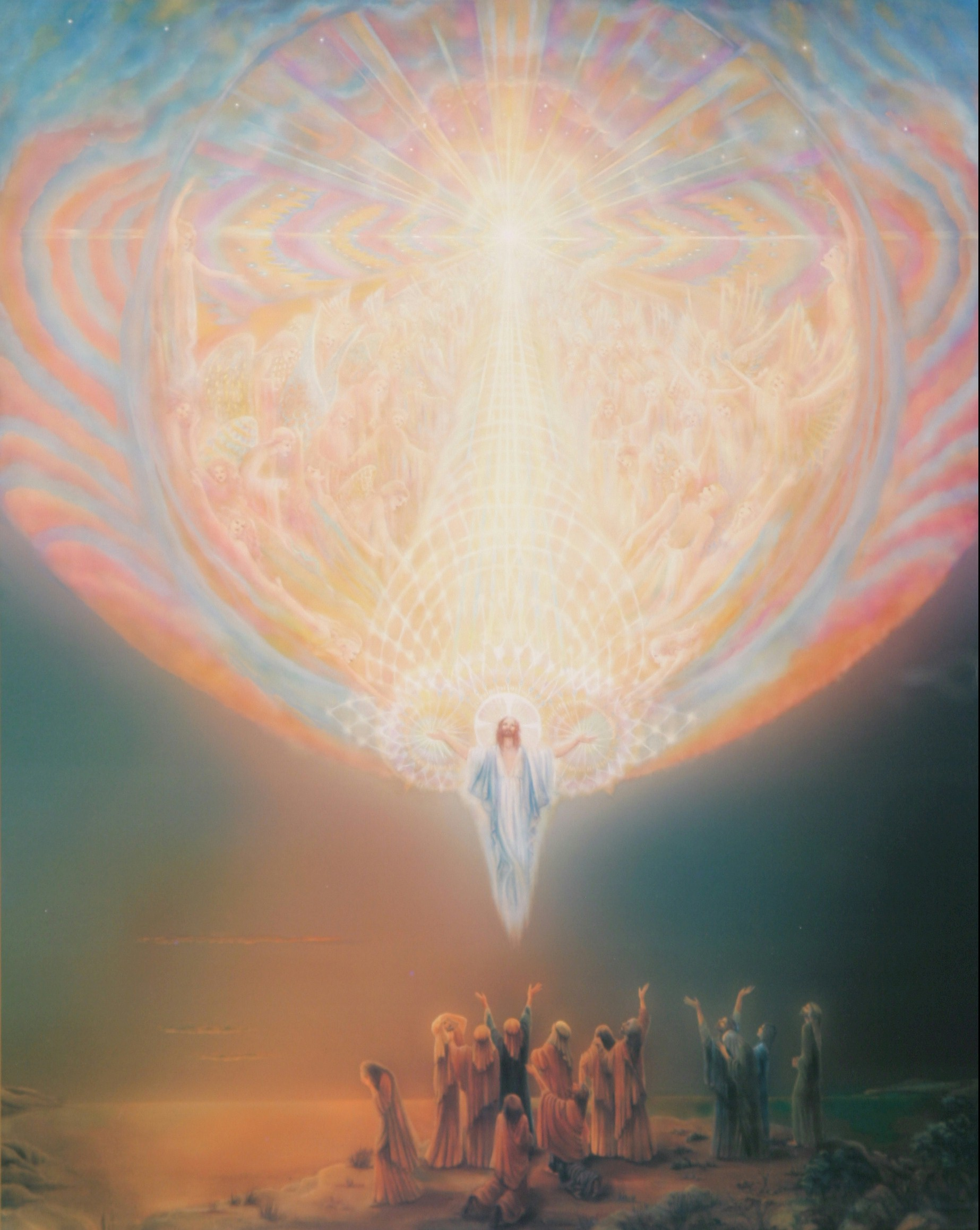 Ascension  by Catherine Andrews   The Living Jesus with his friends here (representing  human reality ) between Earth (representing  material  reality) and Heaven (representing  divine  reality) —the three dimensions of the Universal Christ