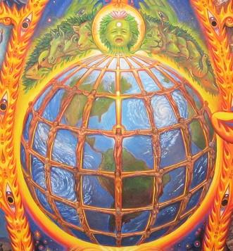 Cosmic Christ detail by Alex Grey