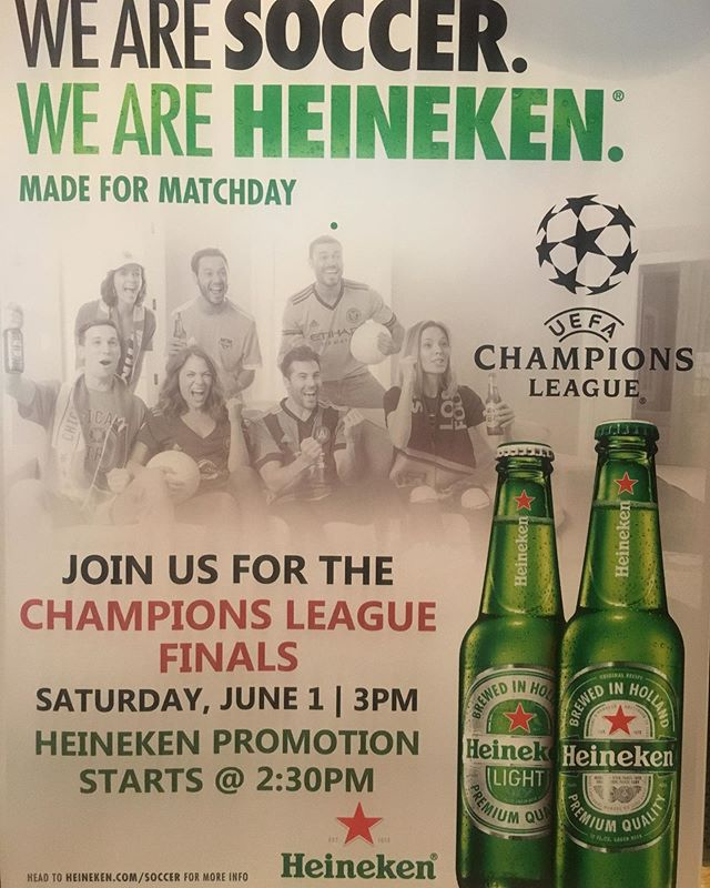 Watch champions league final here in #dorriansjc this Saturday 3pm on our large projector screens with sound. #heineken promo starts 2:30pm. #soccer #football #futbol #restaurants #irishpub #bar #sportsbar #jceats #jerseycity