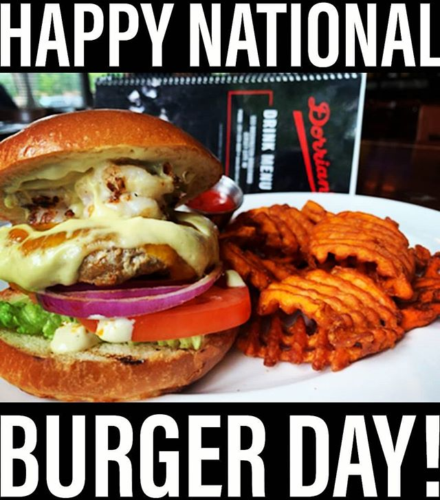 HAPPY NATIONAL BURGER DAY!!! Come in and try our JUICY SPICY CHORIZO BURGER 🤤  Ground spicy pork burger, melted cheddar cheese & jalapeno mayo topped with garlic shrimp, lettuce, tomato, raw onions & served with sweet potato waffle fries.  COME AND GET IT ! * * * #burgersandfries #nationalburgerday #burgerholic #burger ##mouthwatering #yumyum #jceats #jcupfront #jerseyfood #chorizoburger #shrimp #sweetpotato