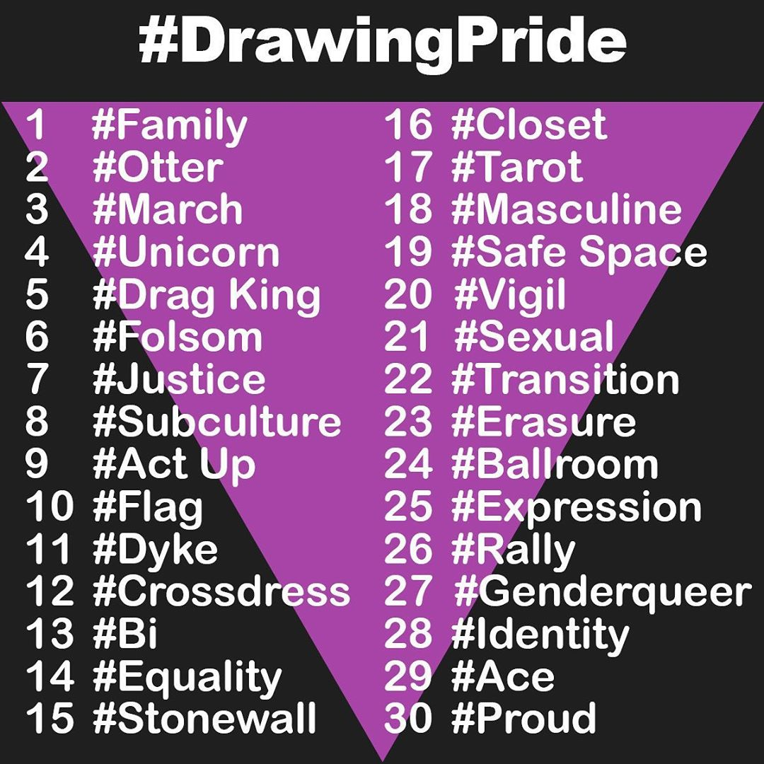 The drawing prompts for the 2019 Drawing Pride Challenge!