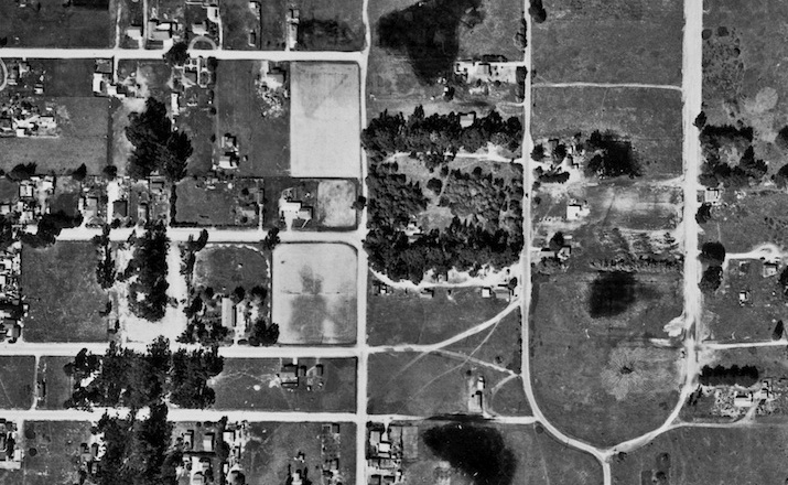"""An arial view of """"the loop"""" in Isla Vista in 1956"""
