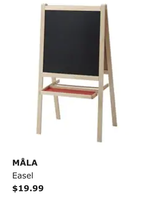- This is great for anyone who wants a cheap easel. It could hold a big book, and with two sides maybe use one for posting a large poster, anchor chart etc. while using the other side for circle time lessons. One side is chalk and the other is whitboard.