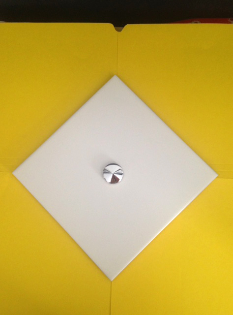 Point Italian wall tile with threaded disc dome image 2,  20 x 20cm, Creamy Matte White Glaze.jpg