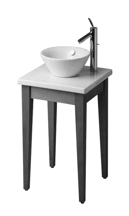 Starck 1H pantry bath washstand, 48 w x 48 deep x 90cm high [overall hieght includes stationary basin 18cm], Pearwood Legs, White Ceramic.jpg