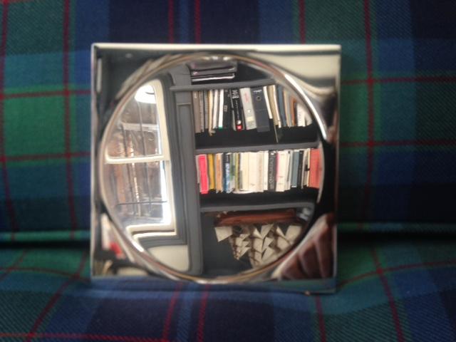 Contemporary convex jewlery or soap tray, 12 w x 12 deep x 1cm tall, Mirror Polish Chromium.jpg