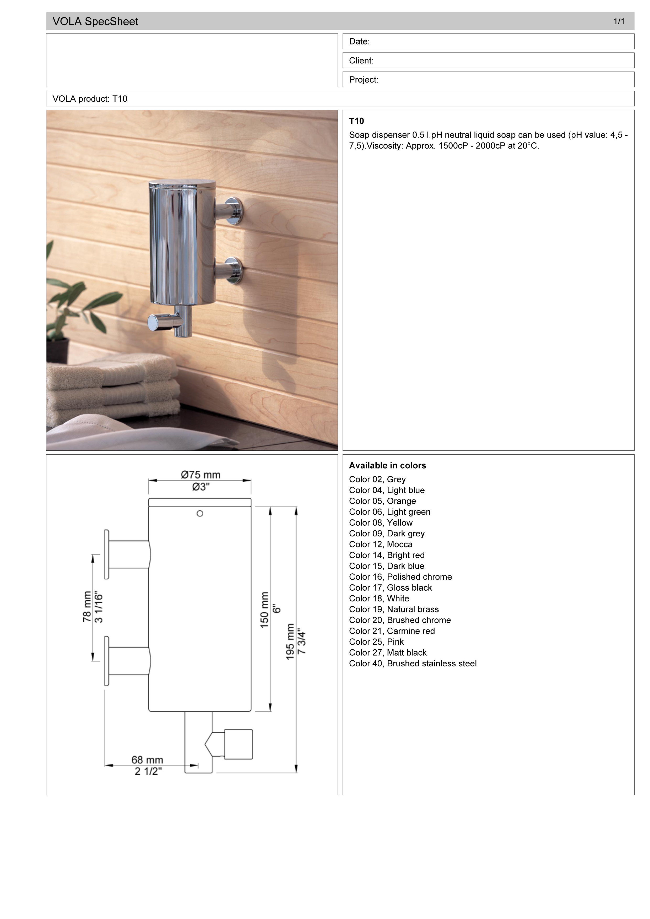 Vola T10.16 wall mount soap dispenser spec sheet.jpg
