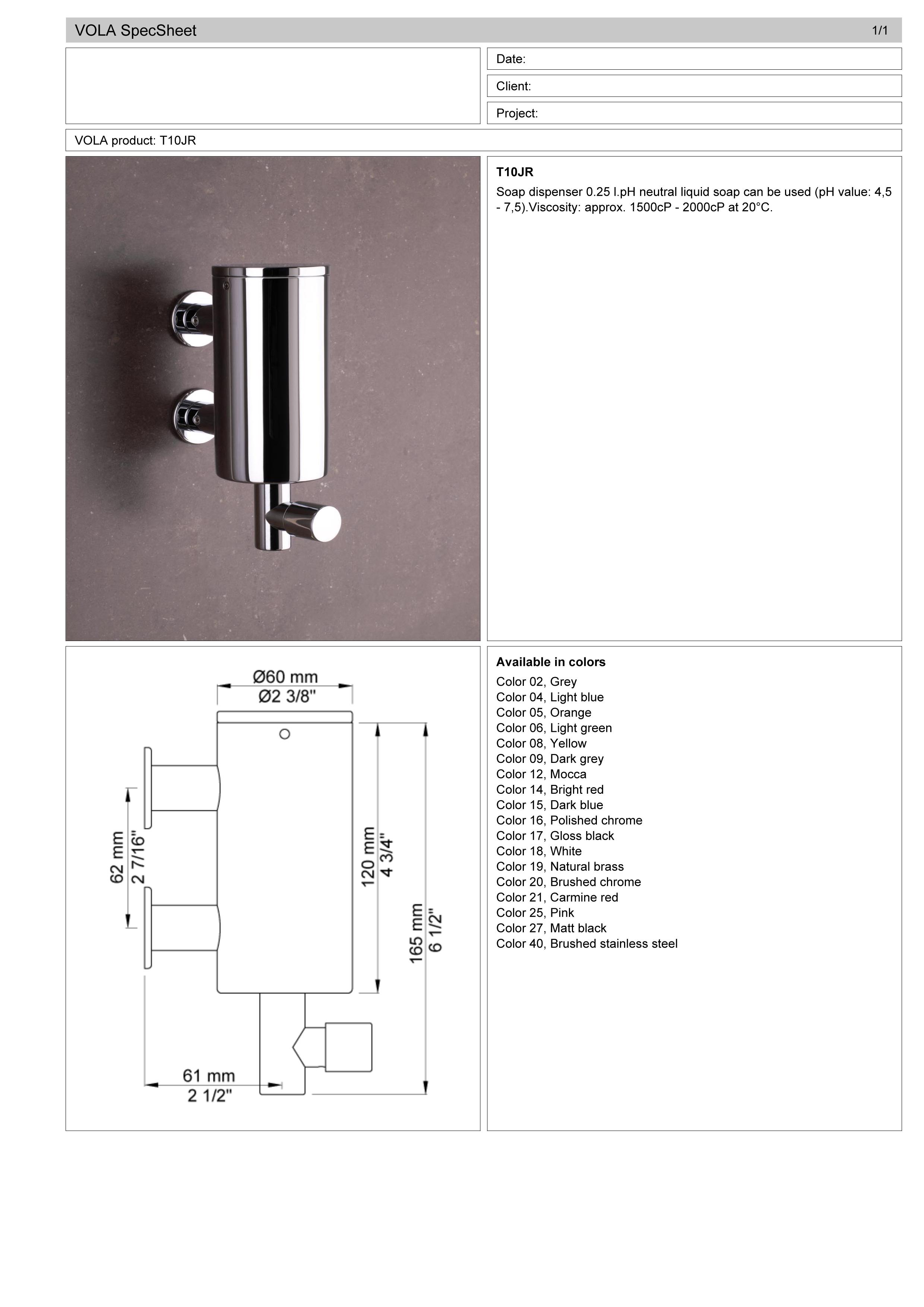 Vola T10JR.16 Junior wall mount liquid soap dispsener spec sheet.jpg