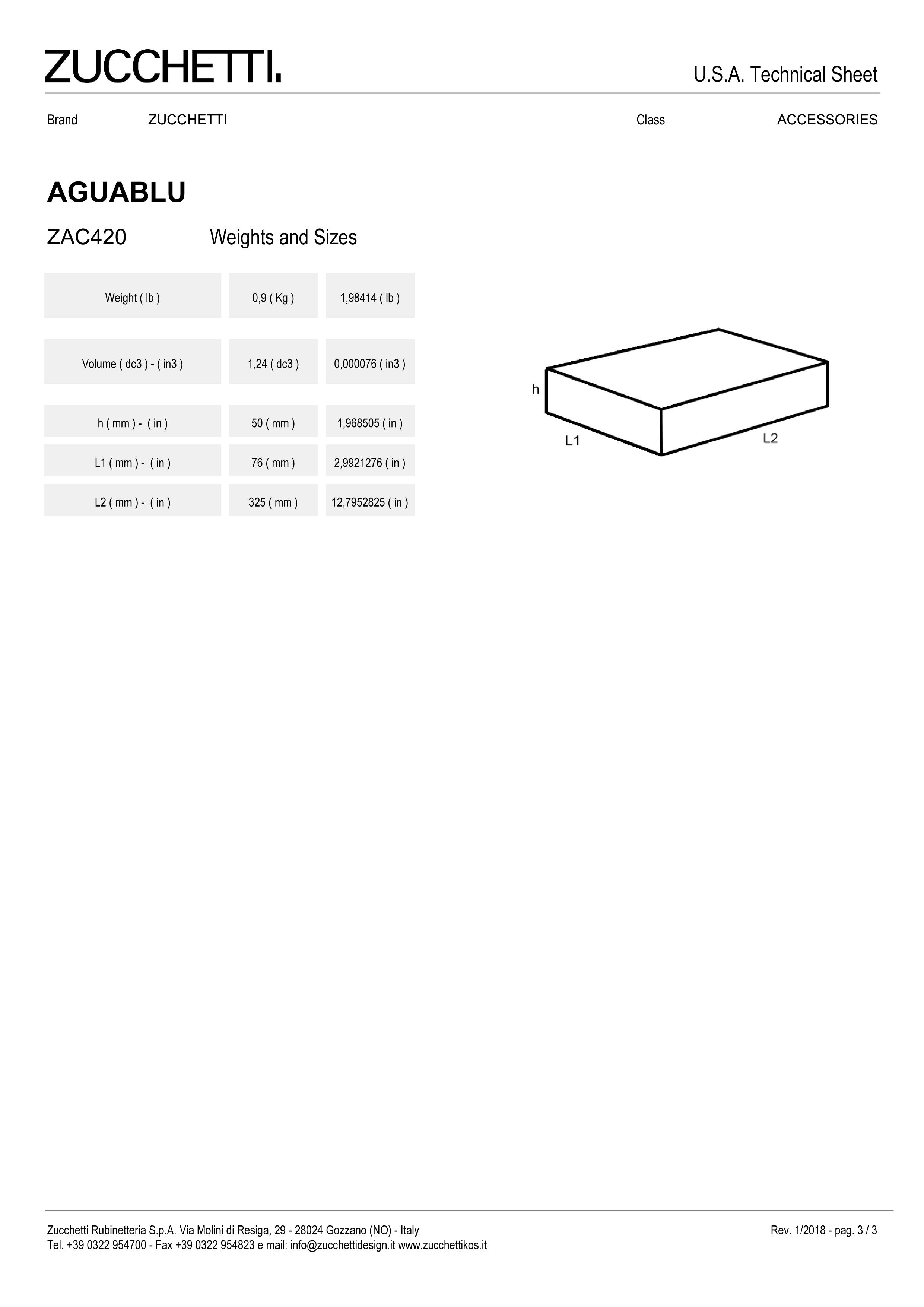 Zuchetti Aquablu towel rail, 30 w x 6,5 projection x 4cm tall,  PC-3.jpg