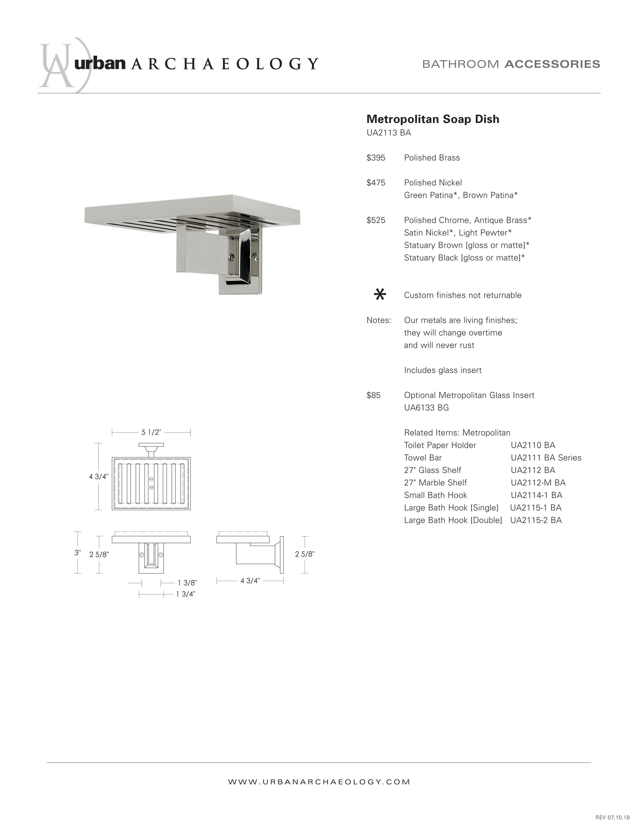 UA Metropolitan soap dish specification sheet.jpg