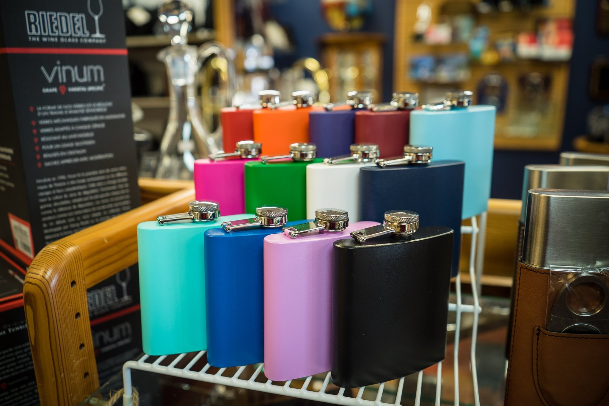 Colorful flasks make a fun gift for bridesmaids or groomsmen