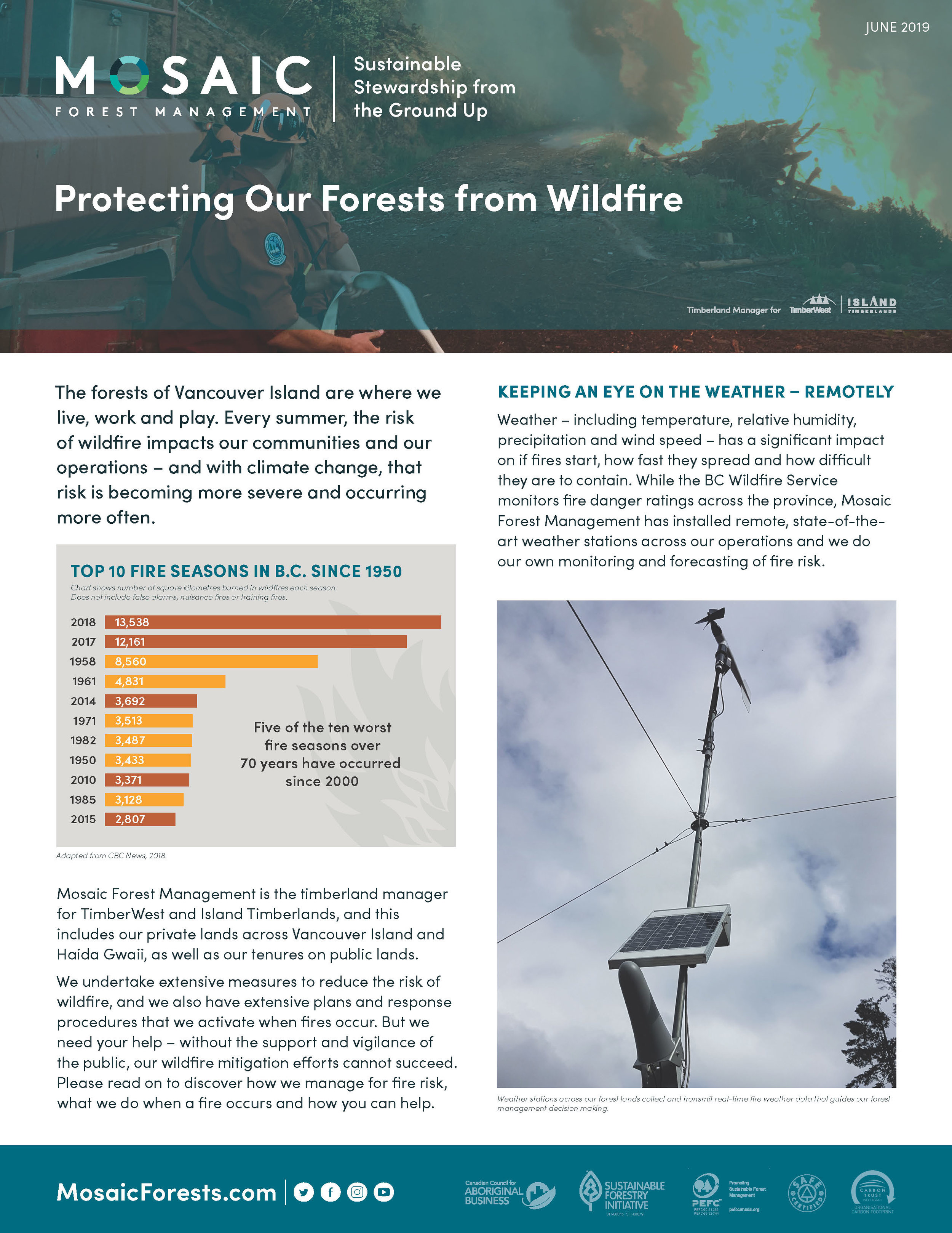 Mosaic Wildfire Protection Fact Sheet -