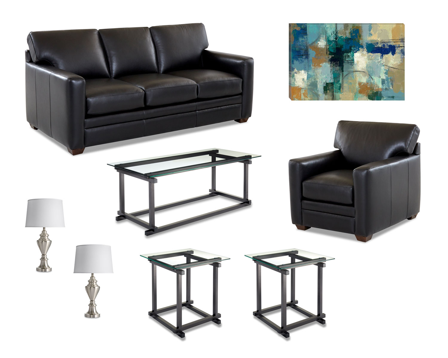 Sofa, Chair, Coffee Table or Ottoman, 2 End Tables, 2 Lamps, 1 Piece of Art