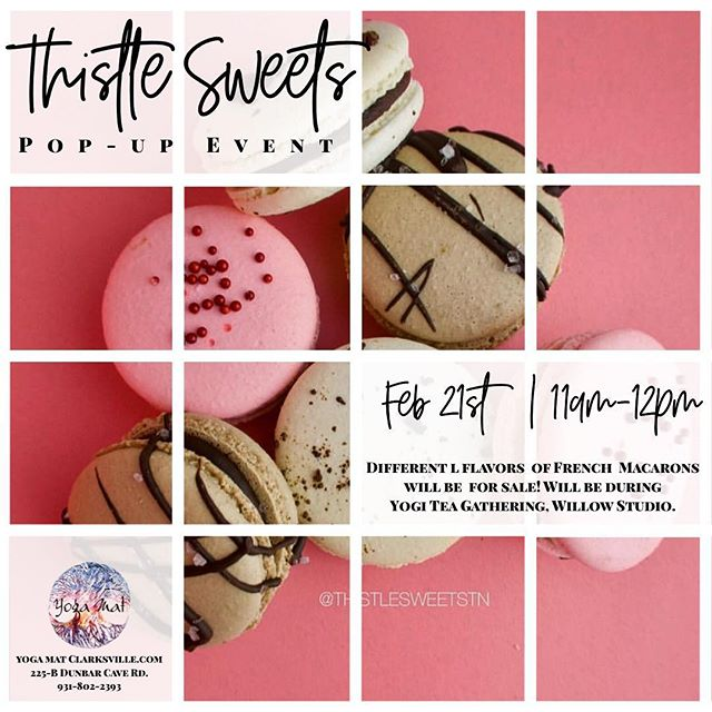 YM + @thistlesweetstn 💕 We love supporting local small businesses & eating all the yummy things! So we're beyond excited to announce that Thistle Sweets is doing a POP-UP event during our Yogi Tea Gathering (after our 10am class) 🌿 Yoga class + French Macarons + tea + new connections 🌿 She will be selling her delicious treats in our Willow Studio (225-B Dunbar Cave Rd.) We hope to see you there next Thursday! 💛 🌿 If you're signed up for our monthly newsletter then you were the first to know about our secret pop-up event. If you want to be one of the first to know about all the things we're doing at the studio(s) make sure to sign up for our newsletter 🌿 #YogaMat #BeHereBeHome #ThistleSweetstn #FrenchMacarons #WomenEmpoweringWomen #SupportSmallBusinesses #ShopLocal