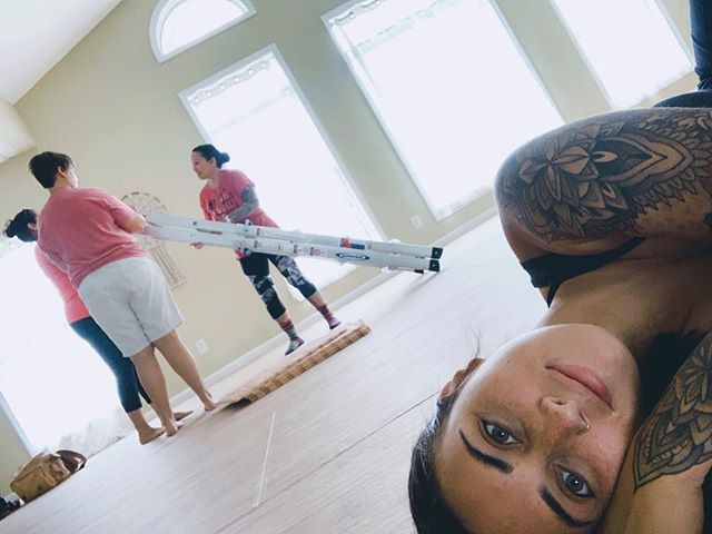 "A little sneak peak into how Yoga Mat runs.  You'll normally find Alex ""supervising"" on the floor, and everyone else doing work #teamworkmakesthedreamwork 😂 We're excited to share what we did today with y'all soon!"